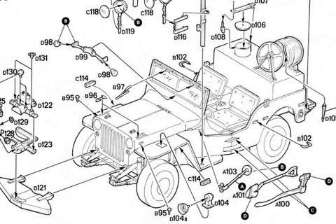 Auszug der Anleitung des Italeri Willys Jeep Bausatzes