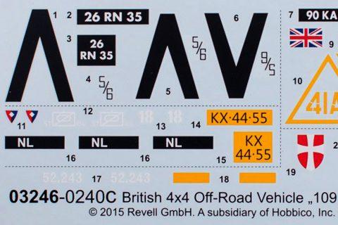 Decalbogen des Revell Series III Plastikbausatzes