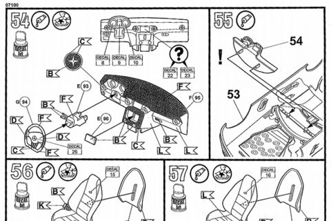 Auszug der Anleitung des Revell Mercedes SLS Bausatzes