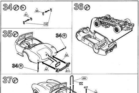 Auszug der Anleitung des Revell Shelby Cobra Bausatzes