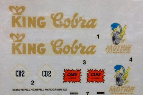 Decalbogen des Revell Shebly Cobra Plastikbausatzes