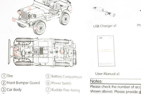 Auszug der Anleitung des JJRC War Transporter Modells
