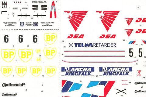 Decalbogen des Revell Mercedes 1450 LS Racetruck Plastikbausatzes