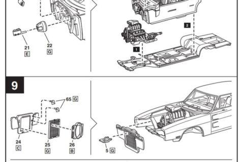 Auszug der Anleitung des 1970 Dodge Charger Bausatzes