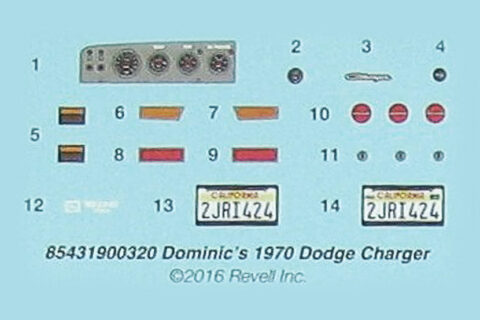 Decalbogen des Revell Dodge Charger Plastikbausatzes
