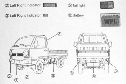 Auszug der Anleitung des WPL Kei Truck Modells