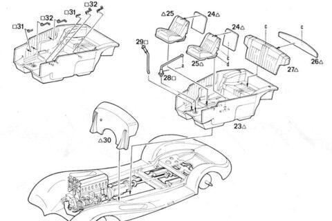 Auszug der Anleitung des Italeri Mercedes 540K Bausatzes